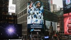 Photo: Nasdaq tower in Times Square celebrates Hazza Al Mansoori's journey to space