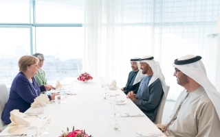 Photo: Mohamed bin Zayed and Merkel review bilateral ties, regional development
