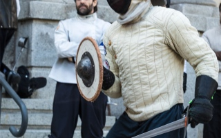 Photo: Man challenges ex-wife and lawyer to a sword fight