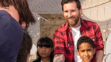 Photo: UAE school students meet Lionel Messi at Expo 2020 Dubai's Al Wasl Plaza