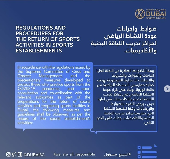 Photo: Dubai Sports Council issues guidelines for return of sports and fitness activities